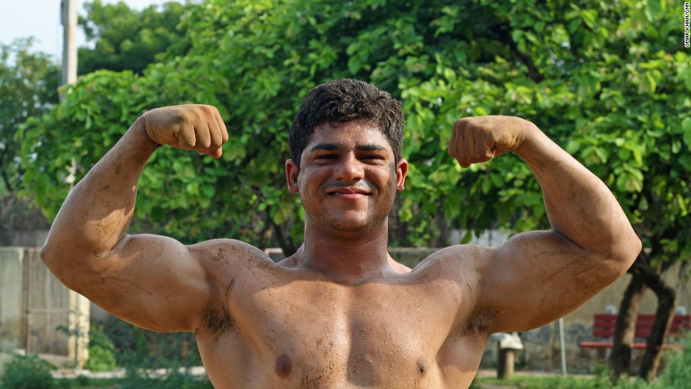 "Sonu, 19, wakes up at 5 a.m. every morning to train. He hopes to be a ""great wrestler."""