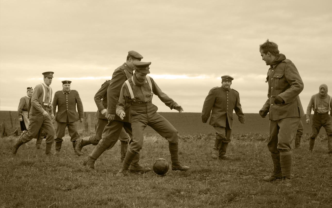 A re-enactment of the 1914 Christmas Truce in Ploegsteert, Belgium