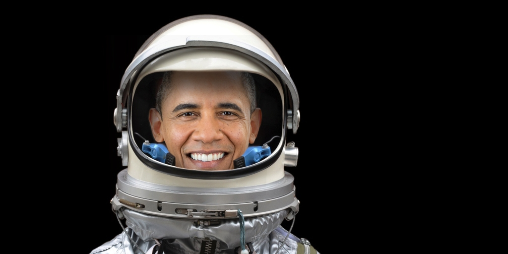 Obama in a Mercury Spacesuit