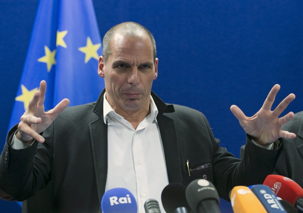Varoufakis holds a news conference after an extraordinary euro zone Finance Ministers meeting in Brussels