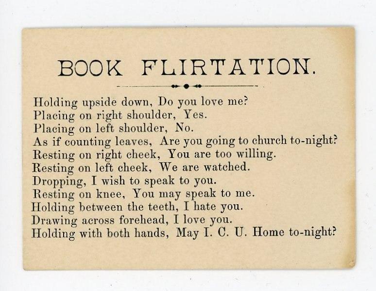 Подлинная открытка из серии «Книжный флирт», найденная Шерил Джагер. С тех пор Джагер печатала на карточках текст для книжных ярмарок. Фото: из архива самой Шерил