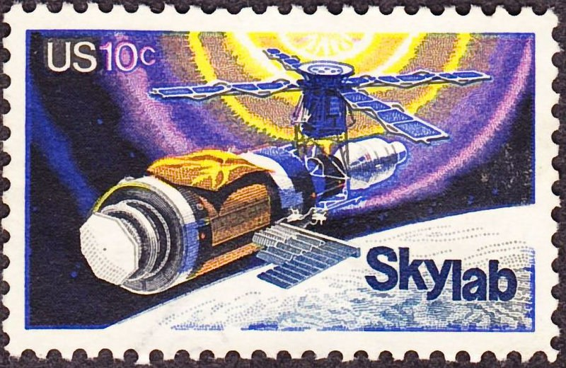 Станция Skylab на марке 1974 года.