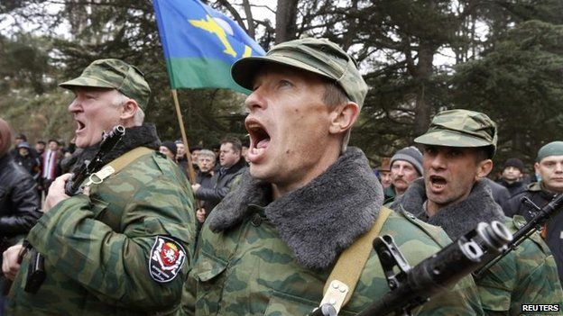 A pro-Russian self-defence in Simferopol during the March annexation of Crimea, 8 March