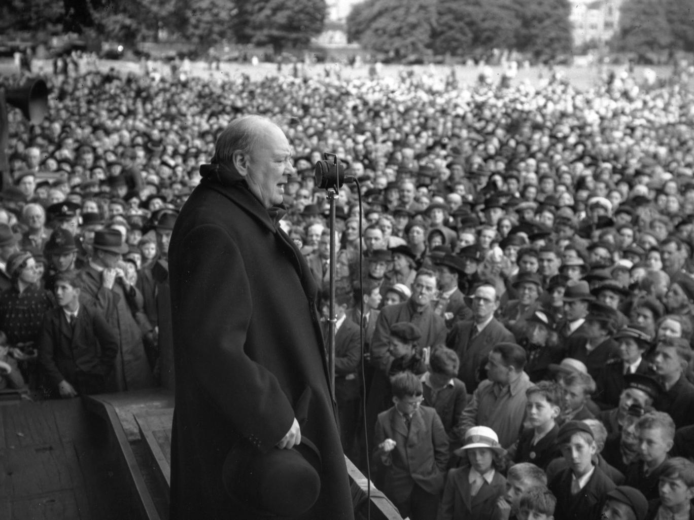 The prime minister of the wartime Coalition government Sir Winston Leonard Spencer Churchill during a speech 0n 2 July 1945. The July 1945 general election resulted in a resounding victory for the Labour Party