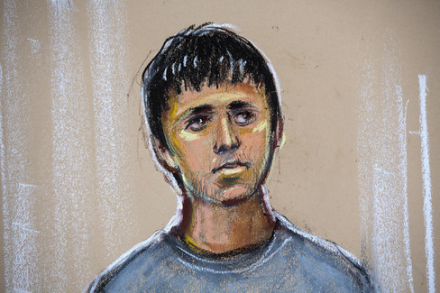 An artist courtroom sketch shows Navinder Singh Sarao, 36, as he stands in the dock during his second appearance at Westminster magistrates court, in London, U.K., on Wednesday, April 29, 2015.
