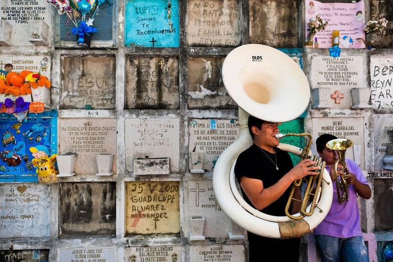 Мексиканские музыканты у колумбария на празднике в честь Дня мертвых.2 ноября 2014 года, Мексика, г. Морелия. GETTY IMAGES JAN SOCHOR