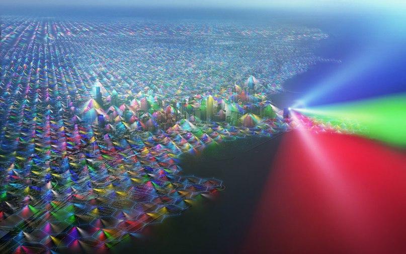 Примерно так выглядел бы Чикаго, если бы мы видели сигналы сотовой связи