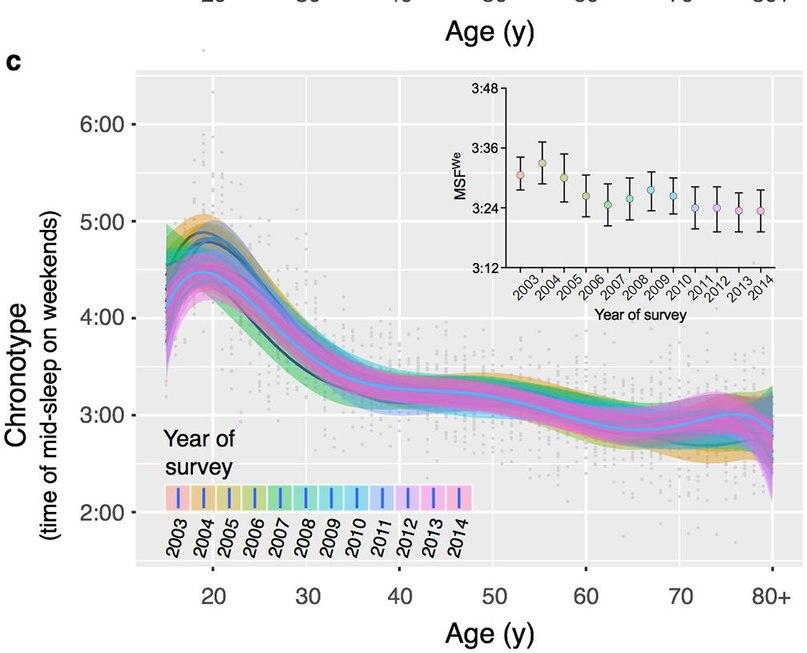Вот почему пожилые люди просыпаются в пять утра: биологические часы с возрастом начинают спешить. Источник: PLOS One